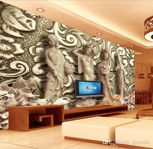 Brilliant 3D Woodcut Four Great Beauties Photo Wallpaper Wall In Murals Wall Accents (Image 6 of 15)