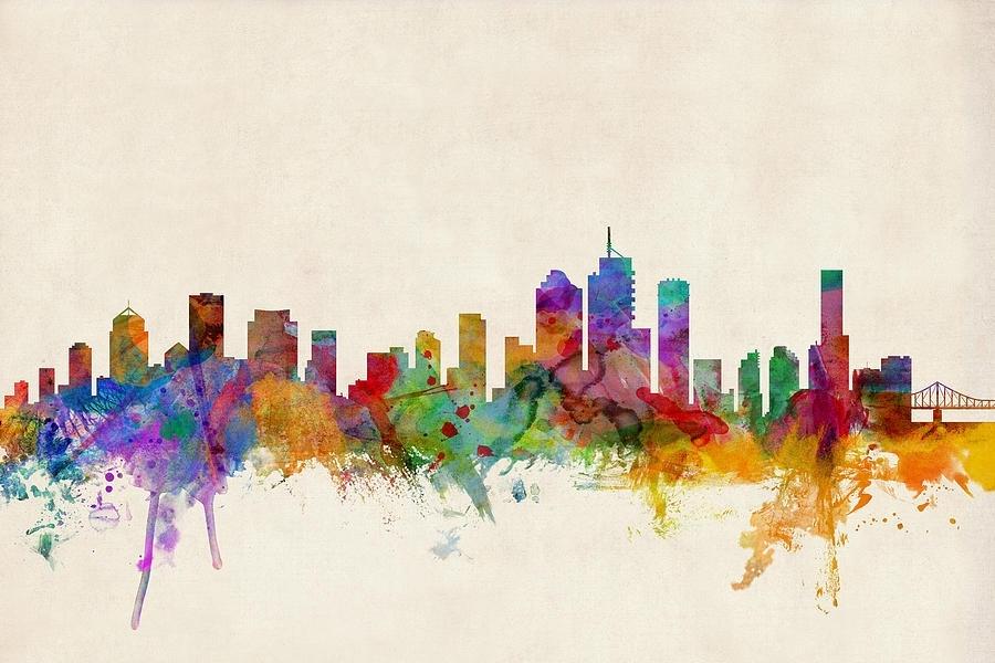 Brisbane Australia Skyline Digital Artmichael Tompsett with Brisbane Canvas Wall Art