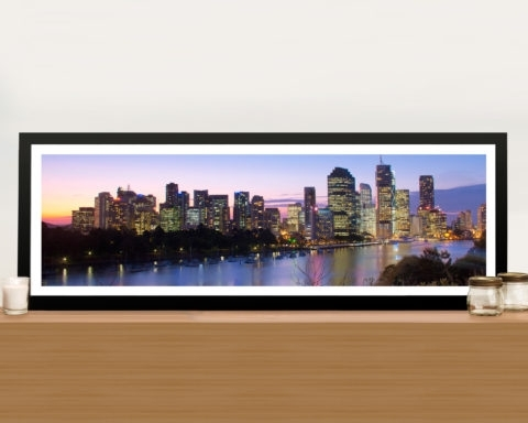 Brisbane Skyline In Panoramic View Picture Art Print On Canvas Throughout Brisbane Canvas Wall Art (Image 11 of 15)