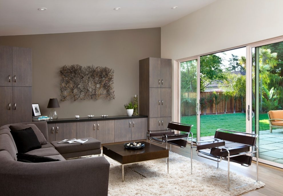 Brown Accent Wall Ideas Living Room Modern With Sloped Ceiling Regarding Neutral Color Wall Accents (View 15 of 15)
