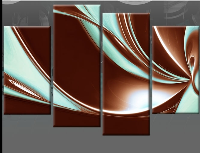 Brown And Duck Egg Blue Abstract Canvas Pictures Wall Art Split Throughout Blue And Brown Canvas Wall Art (Image 4 of 15)