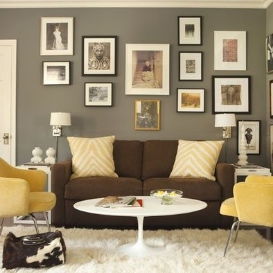 Brown Couch And Grey Walls With White Accents (Image 1 of 15)