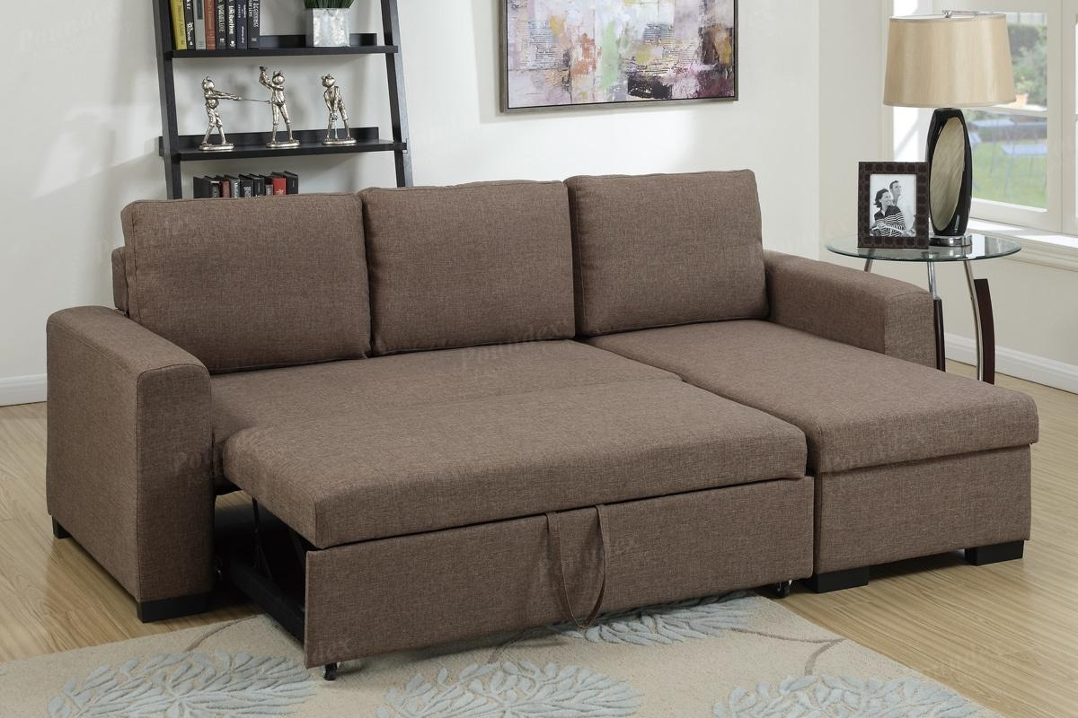 Brown Fabric Sectional Sofa Bed – Steal A Sofa Furniture Outlet Los With Regard To Sectional Sofas That Turn Into Beds (Image 1 of 10)