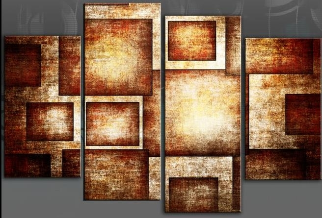 Brown Geometric Bold Canvas Wall Art Picture Abstract 4 Panel For Orange Canvas Wall Art (Image 5 of 15)