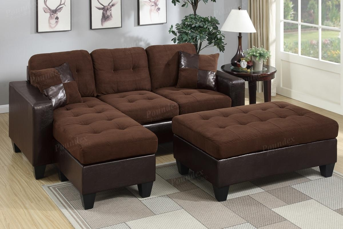 Brown Leather Sectional Sofa And Ottoman – Steal A Sofa Furniture Inside Leather Sectionals With Ottoman (View 7 of 10)
