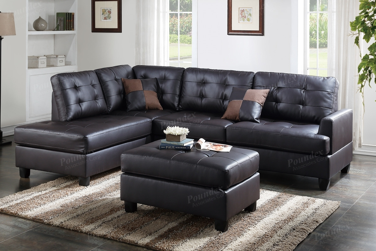 Brown Leather Sectional Sofa And Ottoman – Steal A Sofa Furniture Within Leather Sectional Sofas (View 2 of 10)