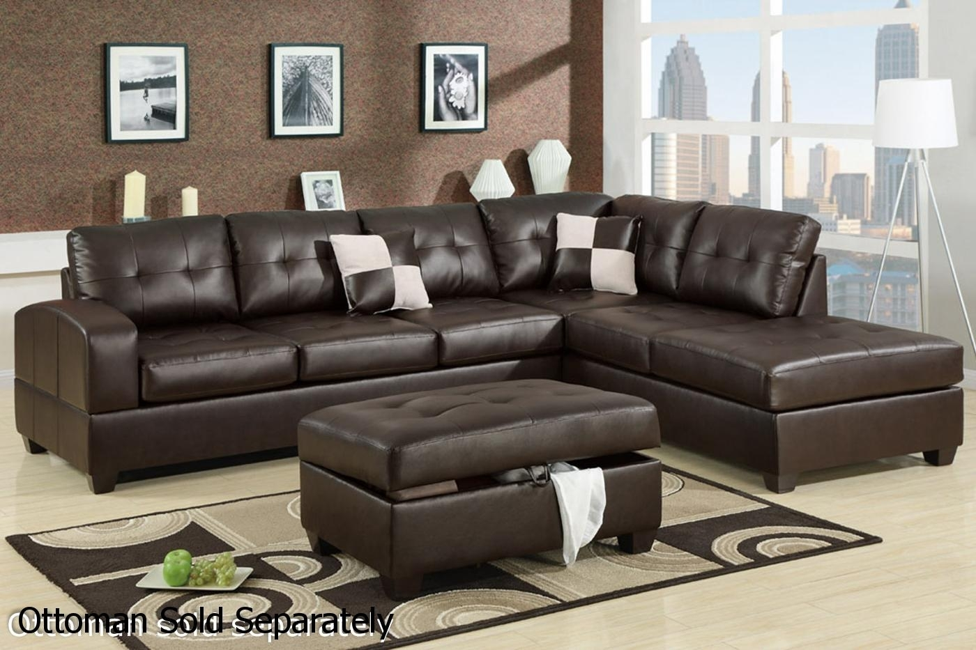 Brown Leather Sectional Sofa – Steal A Sofa Furniture Outlet Los For Leather Sectional Sofas (View 3 of 10)