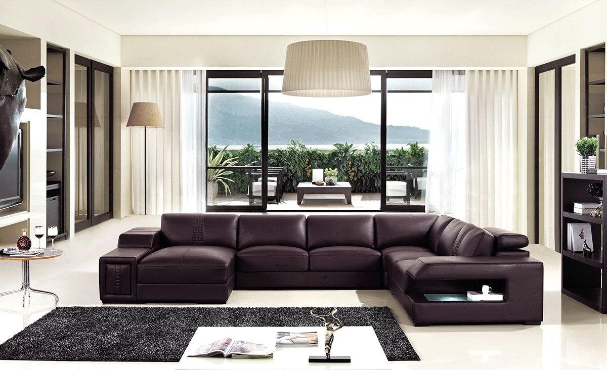 Brown Leather Sectional Sofa With Built In Coffee Table And Lights Pertaining To Charlotte Sectional Sofas (View 4 of 10)