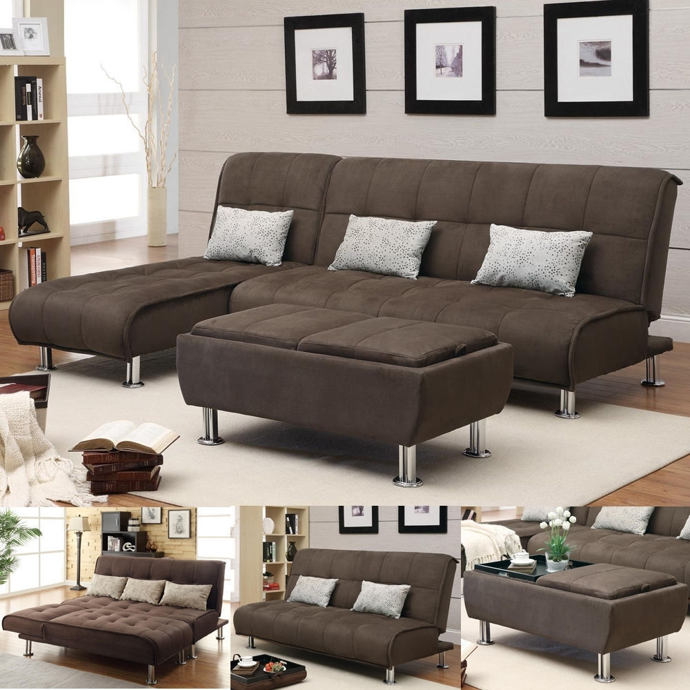 Brown Microfiber 3 Pc Sectional Sofa Futon Couch Chaise Bed Sleeper Throughout Sectional Sleeper Sofas With Ottoman (View 2 of 10)