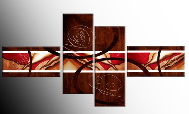 Brown Red White Wide Stretch 4 Panel Abstract Canvas Wall Art Inside Red Canvas Wall Art (Image 4 of 15)