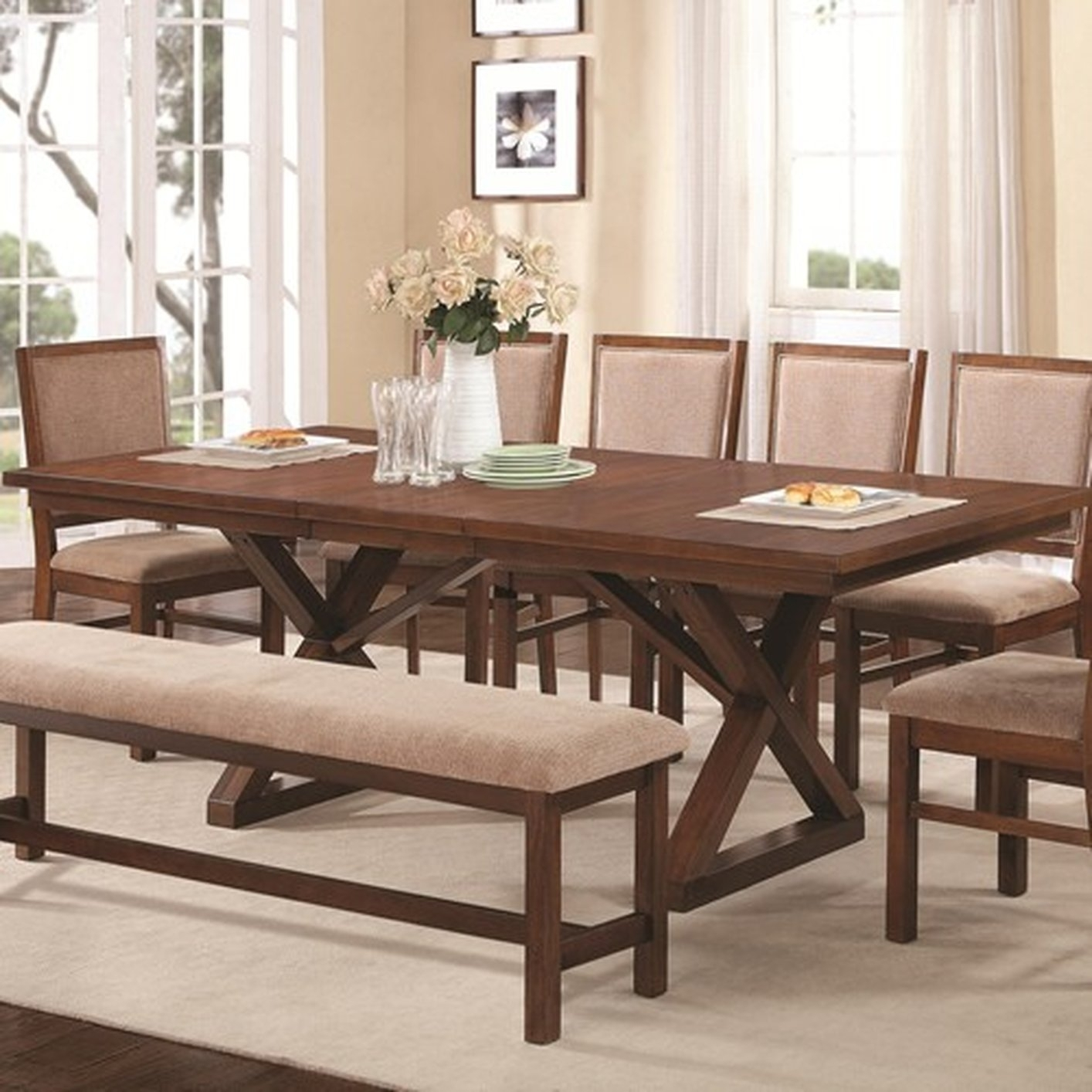 Brown Wood Dining Table – Steal A Sofa Furniture Outlet Los Angeles Ca With Regard To Sofa Chairs With Dining Table (View 6 of 10)