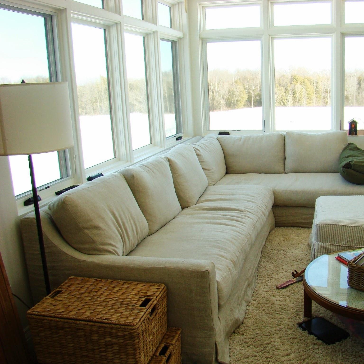 Building Walnut Farm: Belgian Linen Slipcovered Furniture Intended For Restoration Hardware Sectional Sofas (Image 3 of 10)