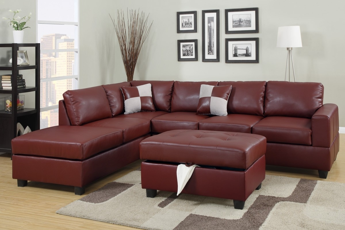 Burgundy Bonded Leather Sectional Sofa With Reversible Chaise Free For Leather Sectional Sofas With Ottoman (View 3 of 10)