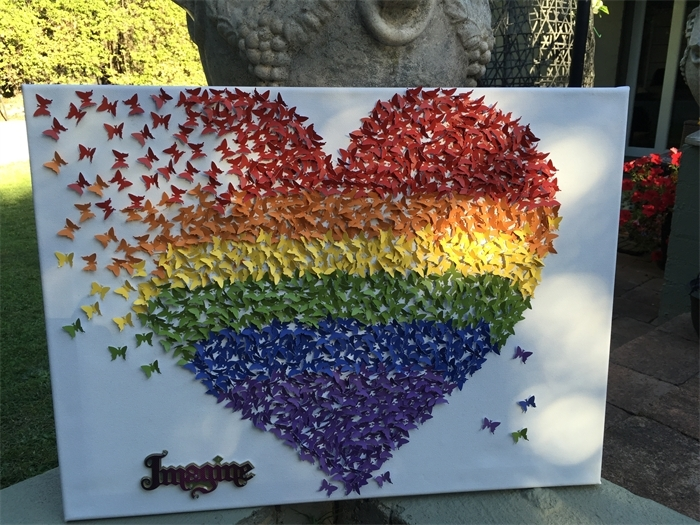 Butterflies Heart| Canvas Wall Art |3D Rainbow Heart Wall Art Intended For Rainbow Canvas Wall Art (View 4 of 15)