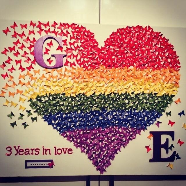 Butterflies Heart| Canvas Wall Art |3D Rainbow Heart Wall Art Throughout Hearts Canvas Wall Art (Image 5 of 15)