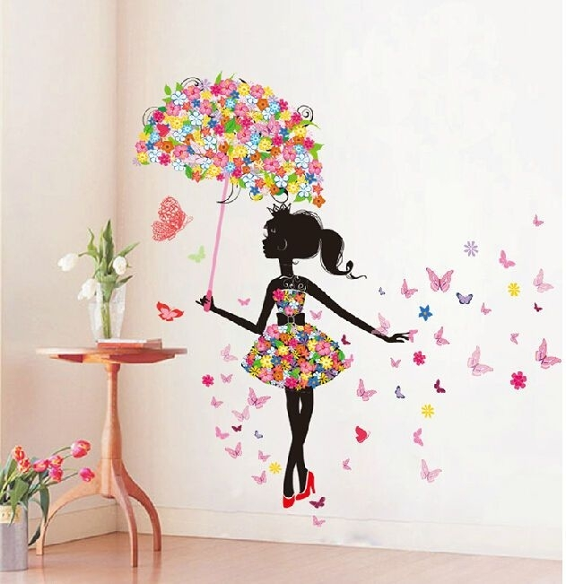 Butterfly Girl Removable Wall Art Sticker Vinyl Decal Diy Room Throughout Adhesive Art Wall Accents (View 10 of 15)