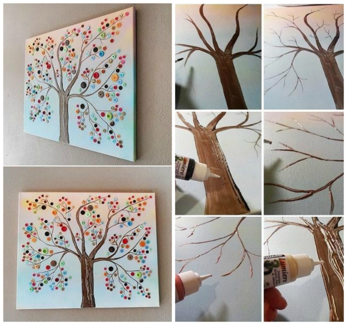 Button Tree Canvas Wall Art | Diy Cozy Home Intended For Homemade Canvas Wall Art (Image 4 of 15)