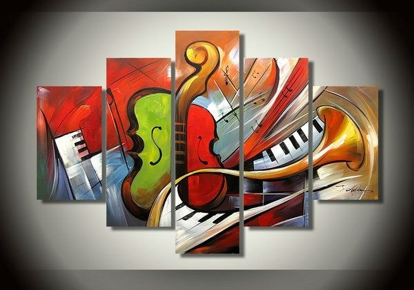 Buy Selling Hand Painted Oil Painting, Abstract Musical Instrument In Abstract Music Wall Art (View 3 of 15)