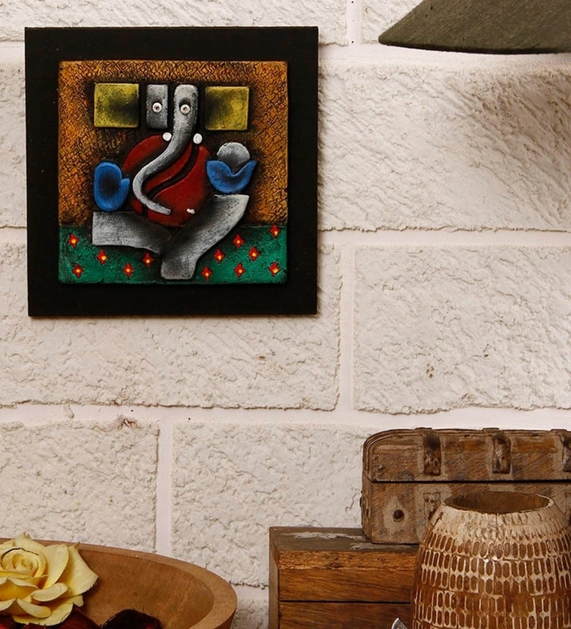 Buy Unravel India Multicolor Terracotta Abstract Ganesha Wall Throughout Abstract Ganesha Wall Art (View 12 of 15)