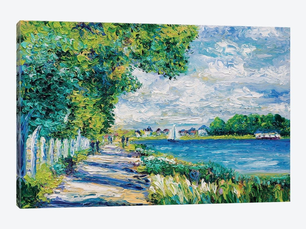 By The Sea (Tribute To Monet) Canvas Wall Artkimberly Adams In Monet Canvas Wall Art (Image 1 of 15)