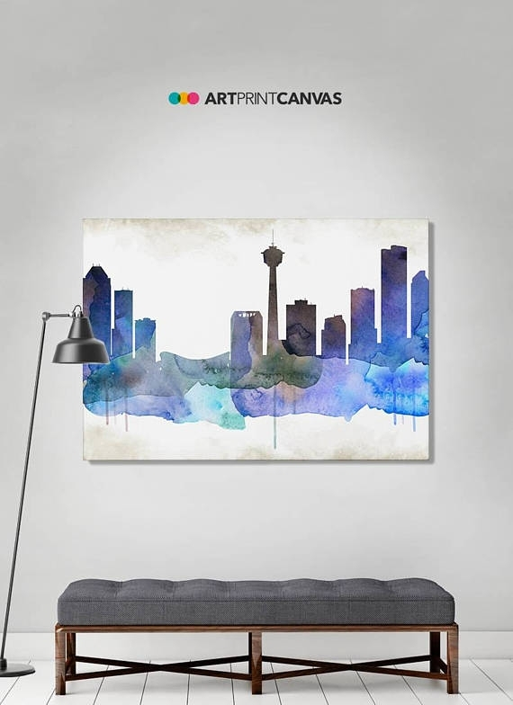 Calgary Print Calgary Watercolor Skyline Canvas Art Print In Calgary Canvas Wall Art (Image 2 of 15)