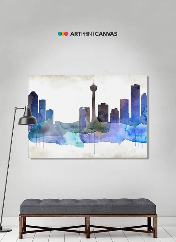 Calgary Print Calgary Watercolor Skyline Canvas Art Print In Calgary Canvas Wall Art (Image 2 of 15)