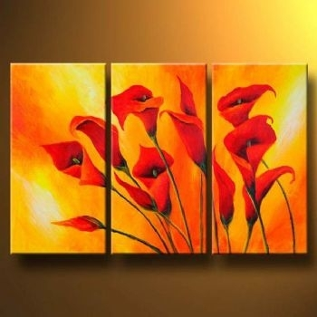 Callas In Orange Modern Canvas Art Wall Decor Floral Oil With Orange Canvas Wall Art (View 9 of 15)