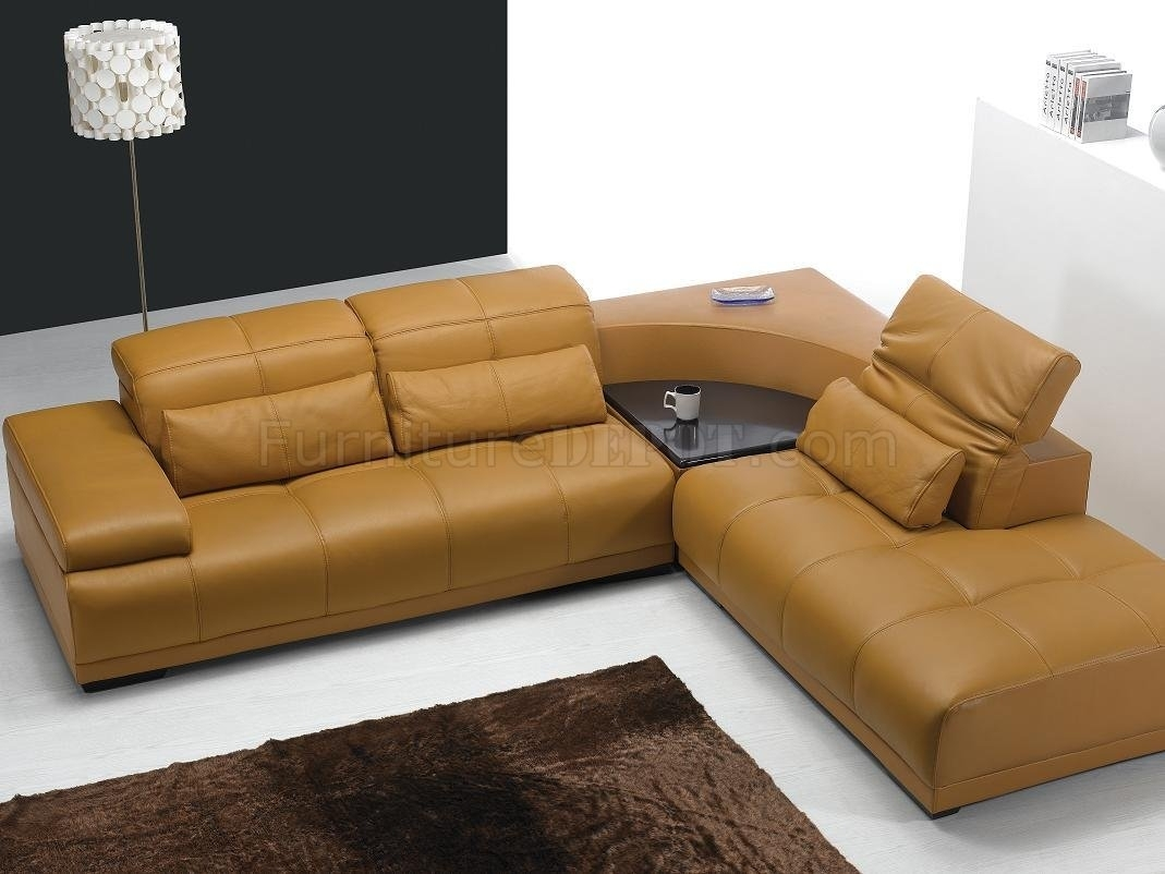 Camel Leather Modern Sectional Sofa 697 Regarding Camel Colored Sectional Sofas (Image 5 of 10)