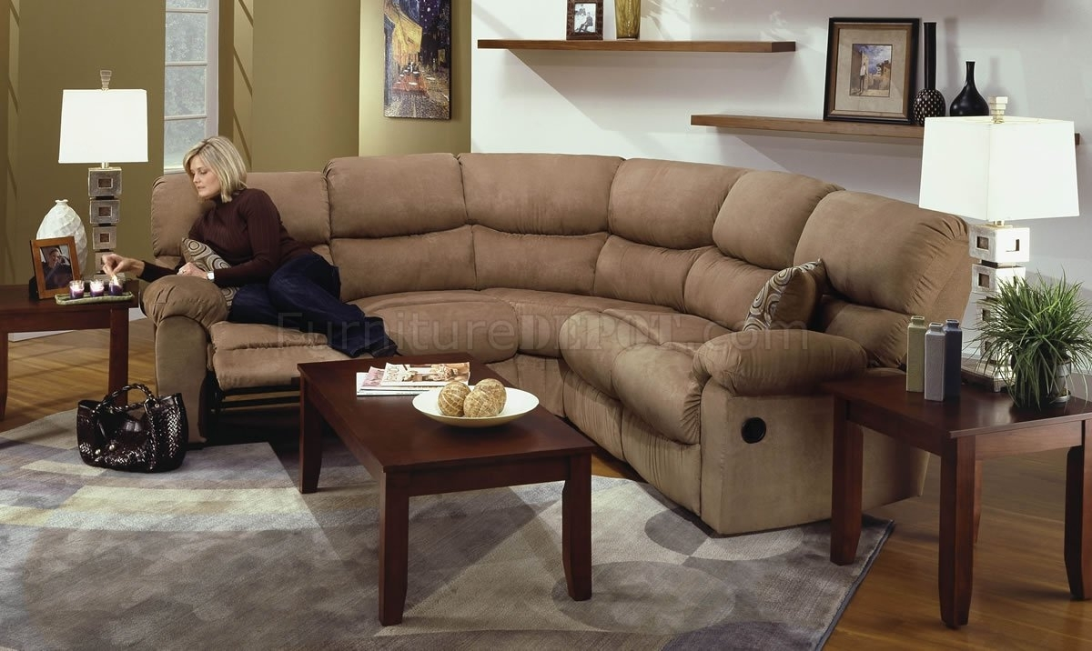 Camel Microfiber Reclining Sectional Sofa W/throw Pillows Pertaining To Reclining Sectional Sofas (Image 6 of 10)