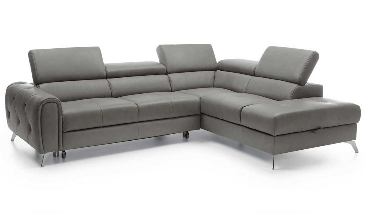 Camelia Modern Sectional Sofa With Bed And Storage In Grey | Get Pertaining To Modern Sectional Sofas (Image 3 of 10)