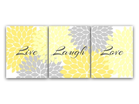 Canvas And Prints Home Decor Wall Art Live Laugh Love Yellow Inside Live Laugh Love Canvas Wall Art (View 13 of 15)