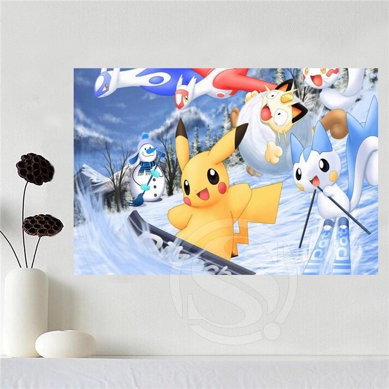 Canvas Art Pokemon Home Decoration Poster Cloth Fabric Wall Poster Regarding Silk Fabric Wall Art (Image 1 of 15)