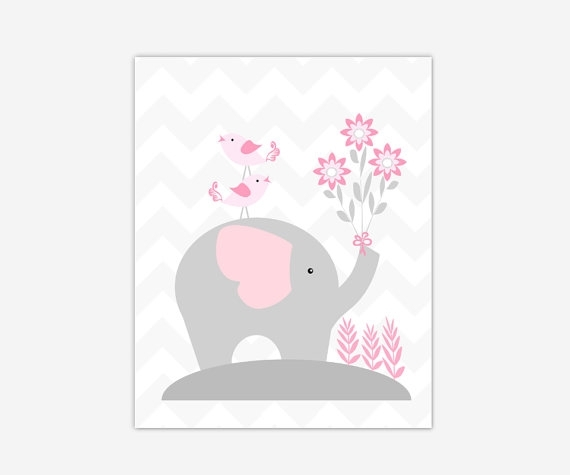 Canvas Baby Girl Nursery Art Pink Gray Grey Elephant Canvas Prints Regarding Nursery Canvas Wall Art (View 15 of 15)