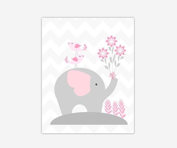 Canvas Baby Girl Nursery Art Pink Gray Grey Elephant Canvas Prints Regarding Nursery Canvas Wall Art (Image 10 of 15)