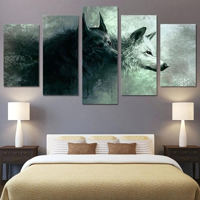 Canvas Bedroom Wall Art 5 Piece Printed Animal Wolf Art Canvas With Regard To Masters Canvas Wall Art (Image 6 of 15)