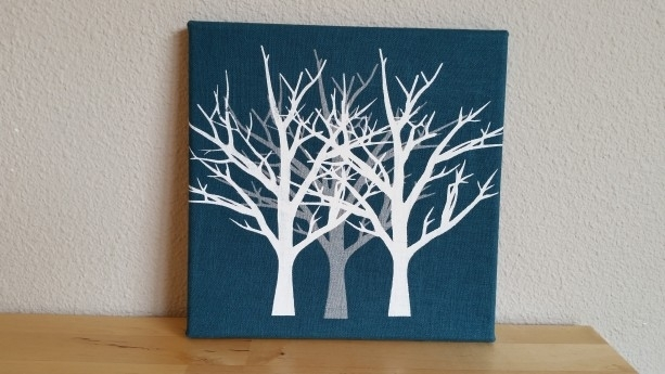 Canvas Fabric Wall Art Screenprinted Trees On Teal Blue Texture With Regard To Textured Fabric Wall Art (View 14 of 15)