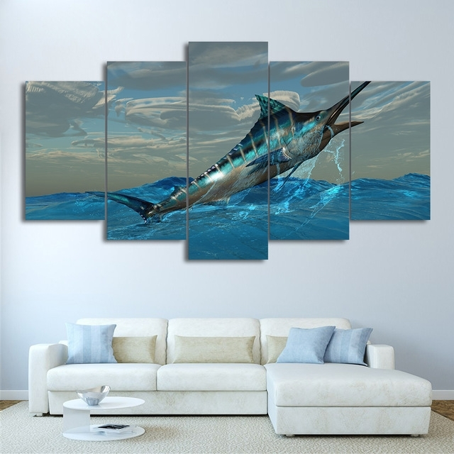 Canvas Frame Modular Print Living Room Decor Pictures 5 Pieces For Jump Canvas Wall Art (Image 9 of 15)