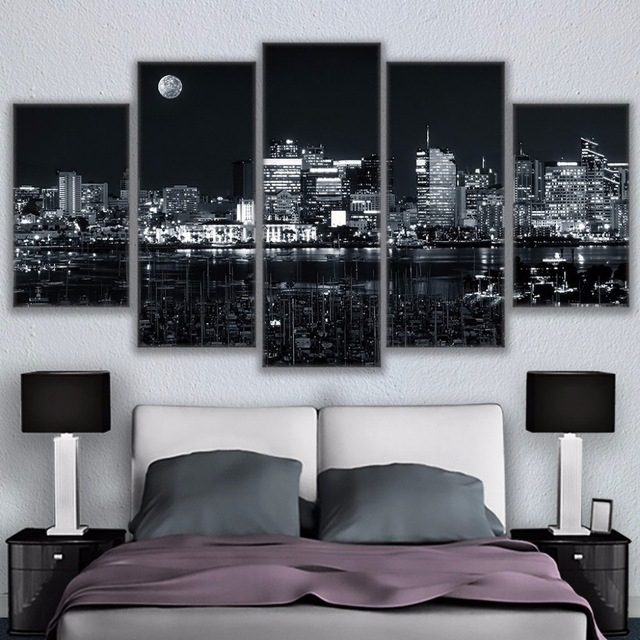Canvas Home Decor For Living Room Wall Art Pictures 5 Pieces Los Regarding Los Angeles Canvas Wall Art (Image 5 of 15)