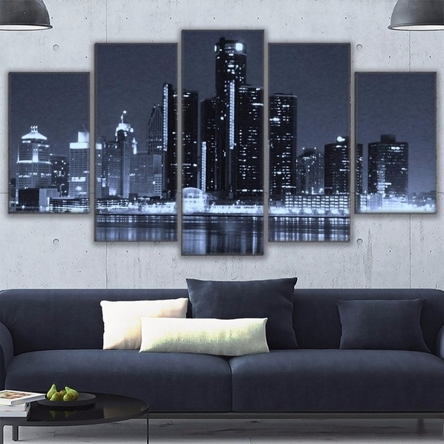 Canvas Painting Frame Wall Art For Living Room Decor 5 Pieces Intended For Houston Canvas Wall Art (View 5 of 15)