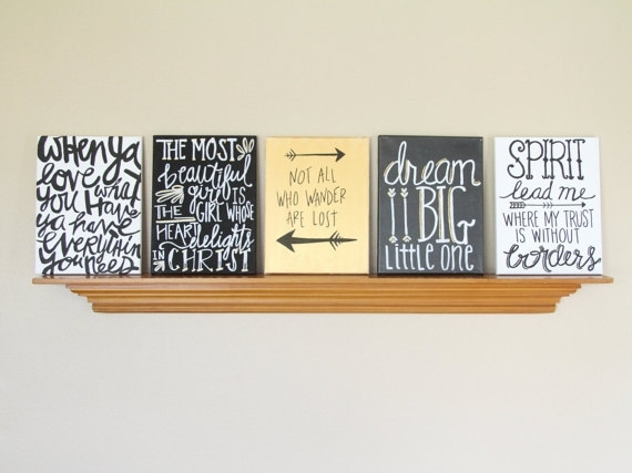 Canvas Painting Quotes Set Black Gold & White Handmade In Canvas Wall Art For Dorm Rooms (View 5 of 15)
