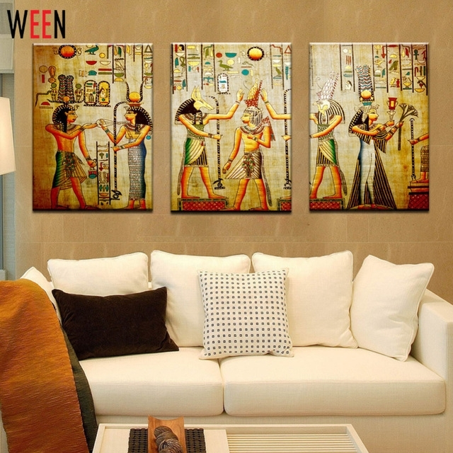 Canvas Painting Triple Abstract Picture Egyptian Mural Room Modern Pertaining To Egyptian Canvas Wall Art (View 6 of 15)