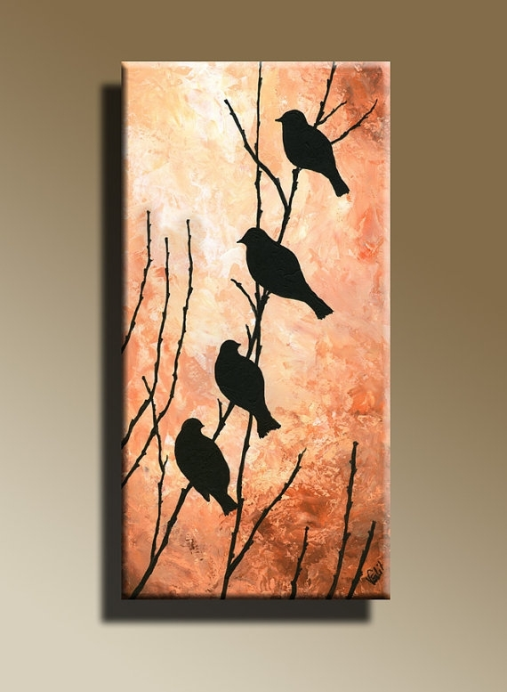 Canvas Print Of Original Acrylic Painting Night Bird Serenade Wall Pertaining To Birds Canvas Wall Art (View 6 of 15)