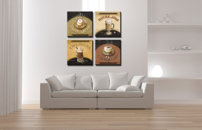 Canvas Print Painting Artwork, Cafe Styles Coffee Beans K704, Hd 4 Inside Coffee Canvas Wall Art (Image 4 of 15)