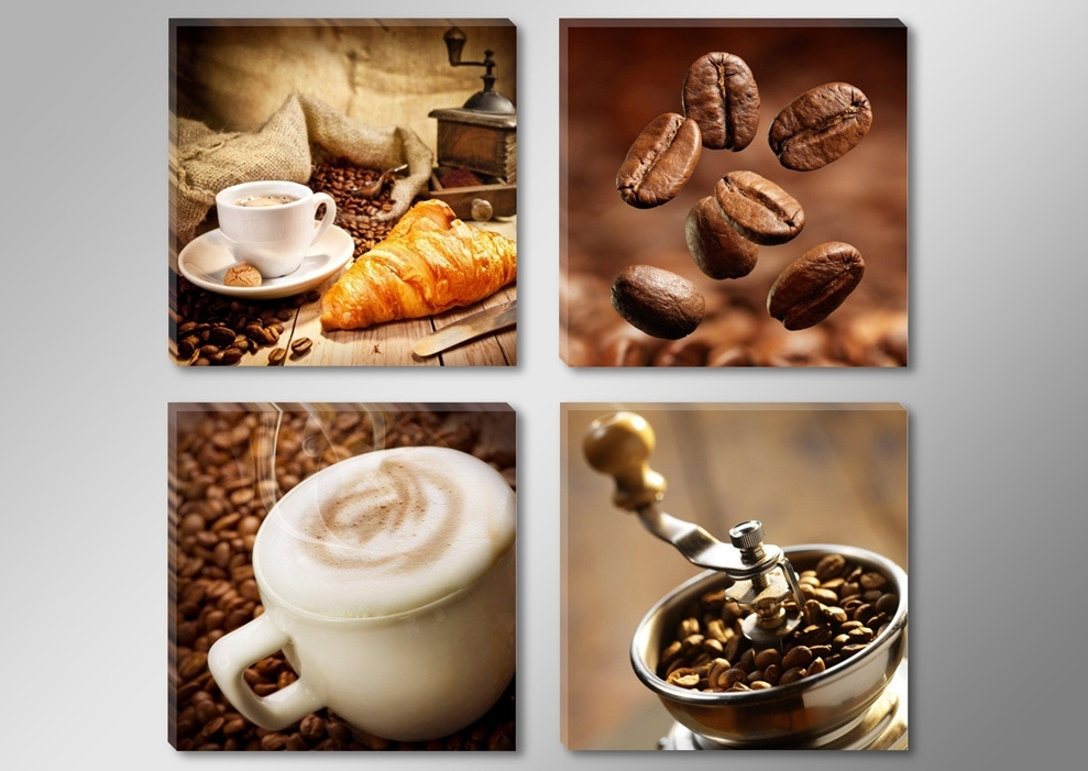 Canvas Print Painting Artwork, Cafe Styles Coffee Beans K712, Hd 4 For Coffee Canvas Wall Art (Image 5 of 15)