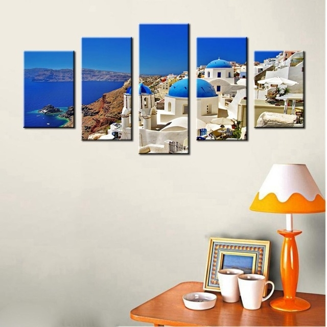 Canvas Print Wall Art Painting Santorini Island Greece Famous Within Greece Canvas Wall Art (View 11 of 15)