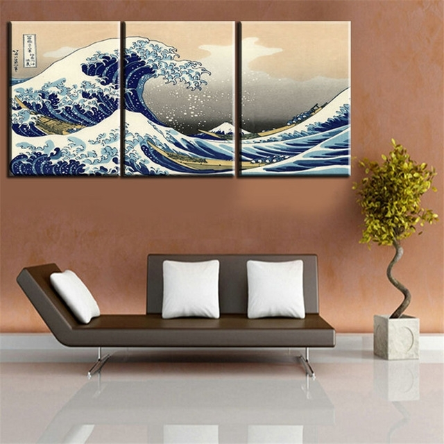 Canvas Printings Seascape Landscape 3 Panels Traditional Art Intended For Multi Panel Canvas Wall Art (Image 2 of 5)