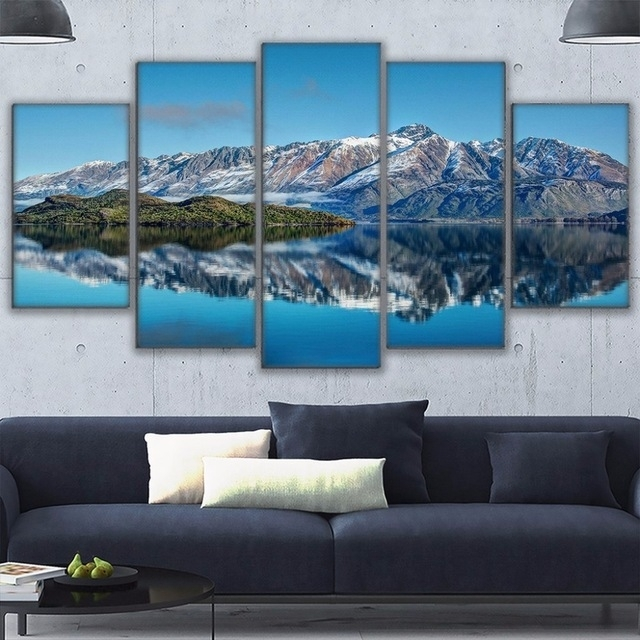Canvas Prints Poster Wall Art Frame Home Decor 5 Piece Queenstown Intended For Mountains Canvas Wall Art (View 5 of 15)