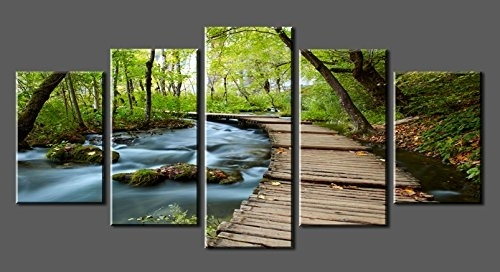 Canvas Prints Sk0010 Wall Art Bridge The Woods Stretched And Intended For Nature Canvas Wall Art (Image 4 of 15)