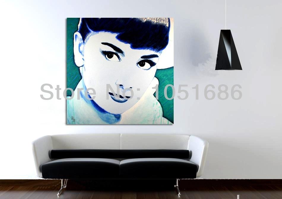 Canvas Wall Art Handmade Abstract Modern Audrey Hepburn Portrait Throughout Portrait Canvas Wall Art (Image 3 of 15)