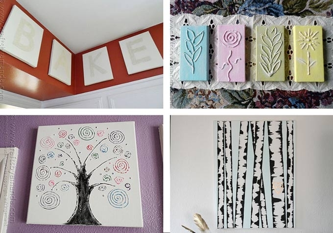 Canvas Wall Art Ideas: 30+ Canvas Tutorials Within Homemade Canvas Wall Art (Image 7 of 15)